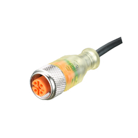 PVC Cable with Molded M12 Male Female Straight 4-pole Connector with 3 LED Status Indication