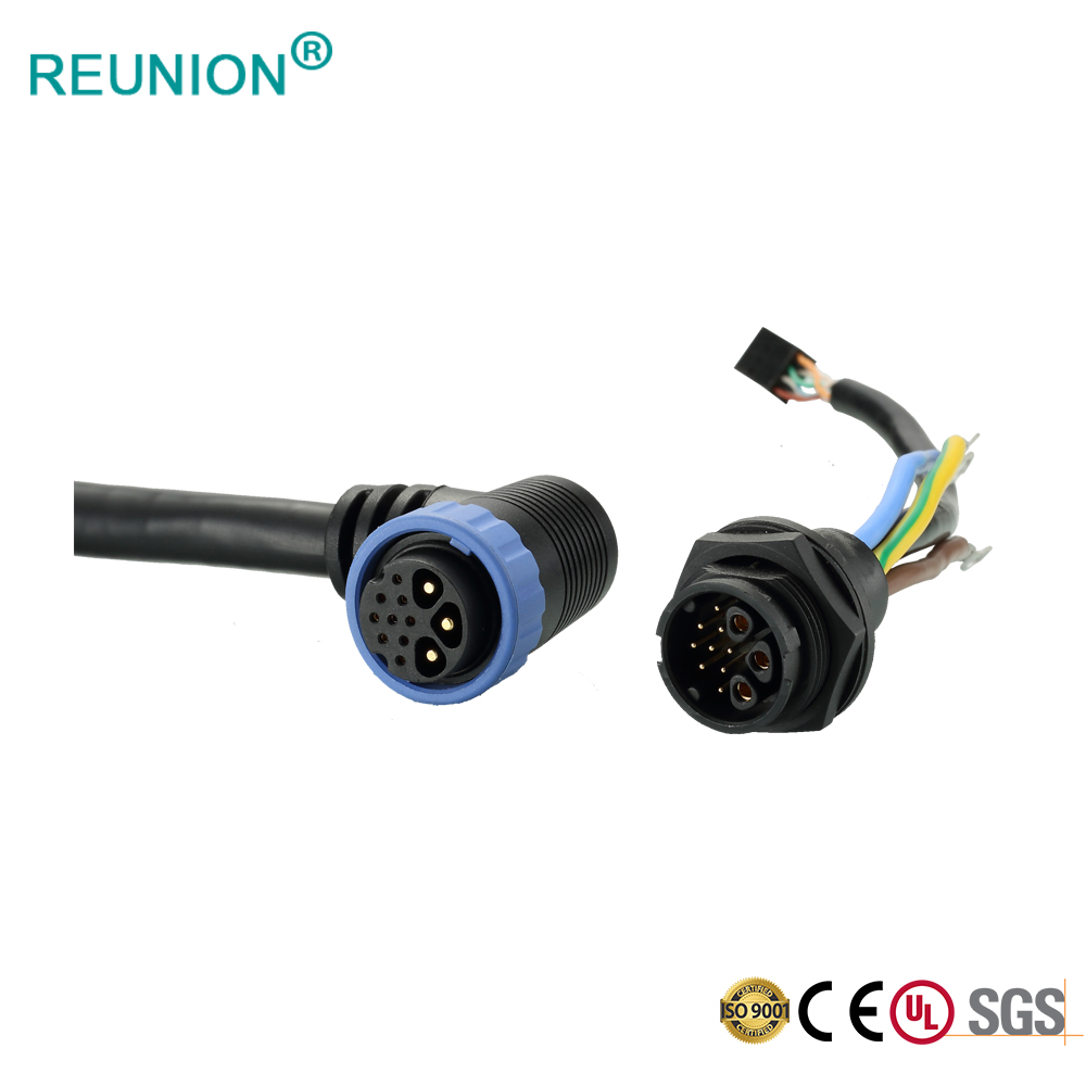 Industrial IP68 threaded waterproof electrical cable plastic connector