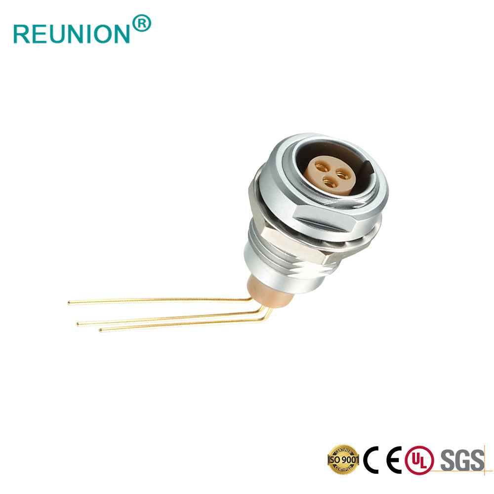 Metal Medical Connector with Right Angle Contacts for PCB Socket