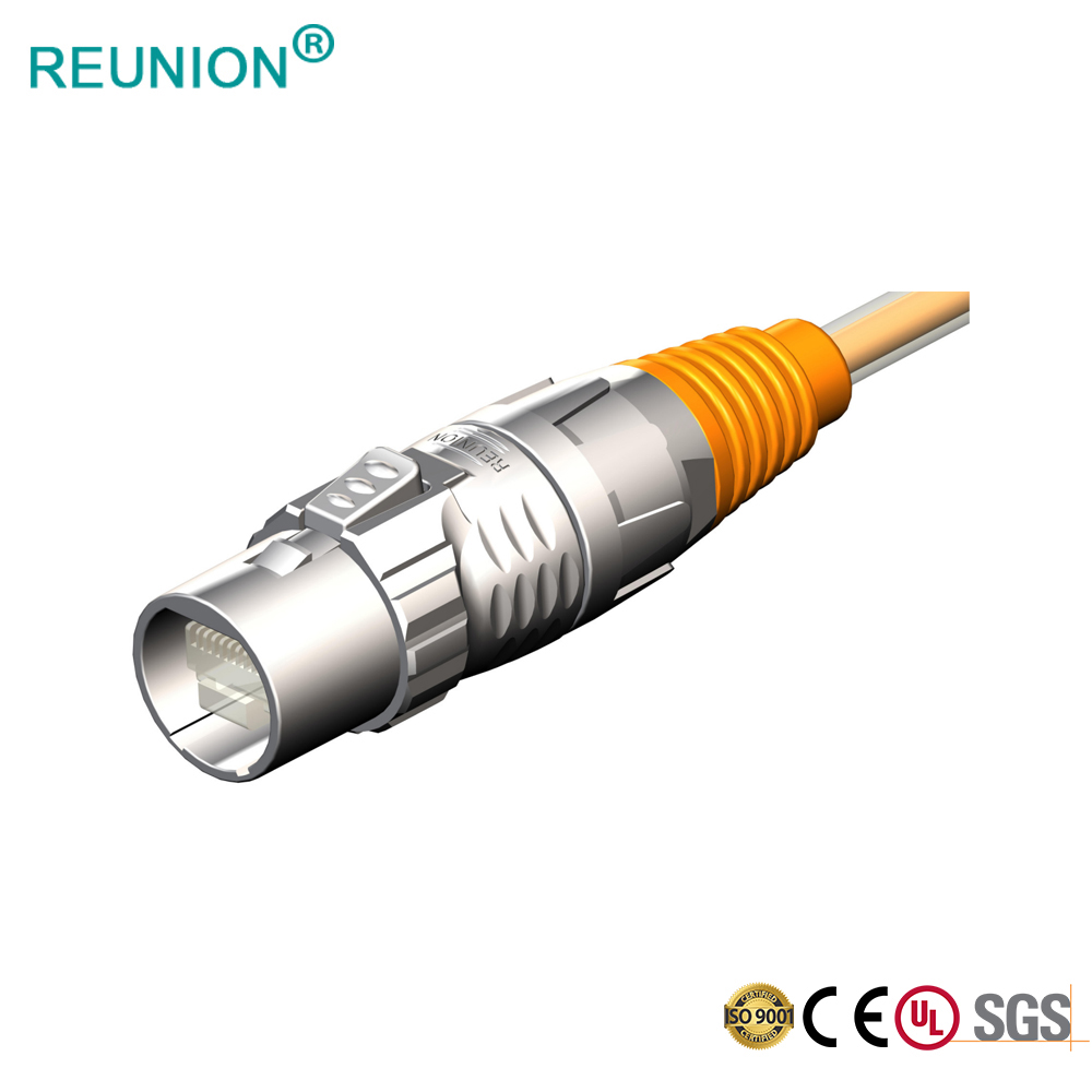 IP67 Waterproof Welding Cable Network Connector For LED Display 8P8C RJ45 Jack & 9Pins Data Contacts